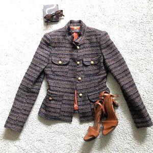 ZARA blue brown tweed blazer jacket sS